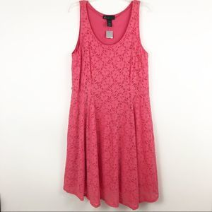 Lane Bryant pink lace fit and flare dress